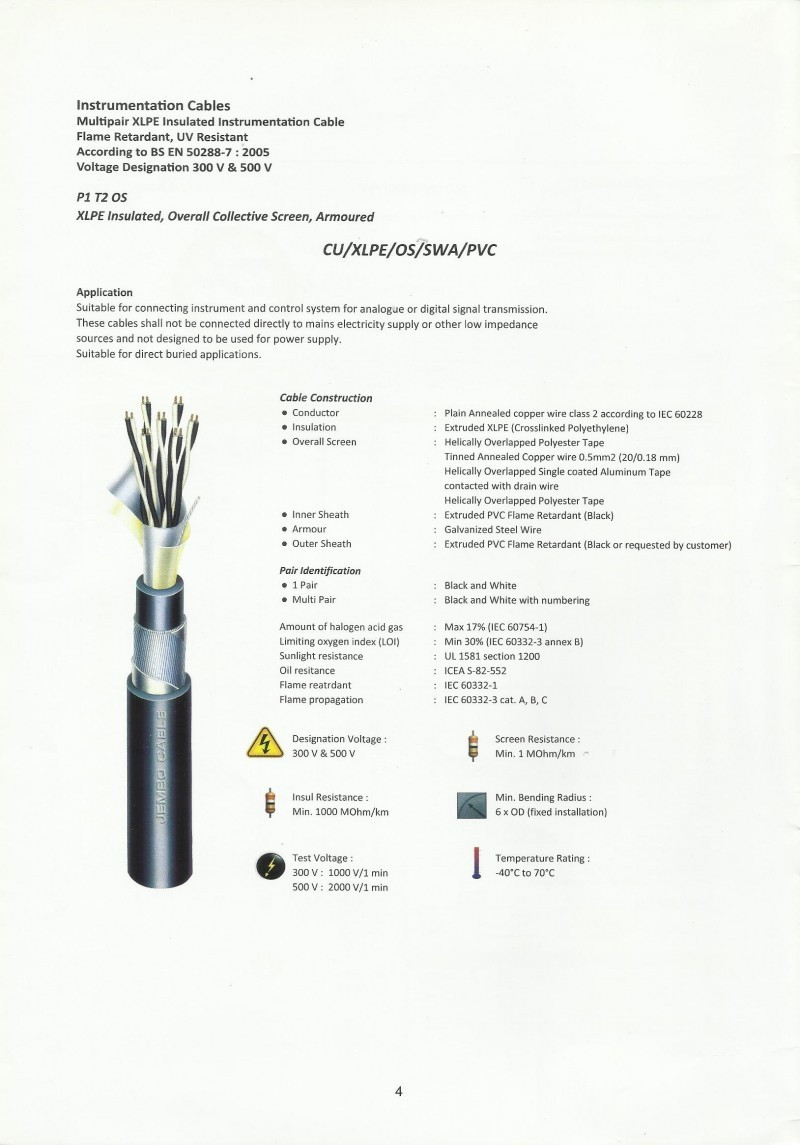 KABEL, INSTRUMENTATION CABLE JEMBO, Multipair XLPE Insulated, Overall Collective Screen, Armoured