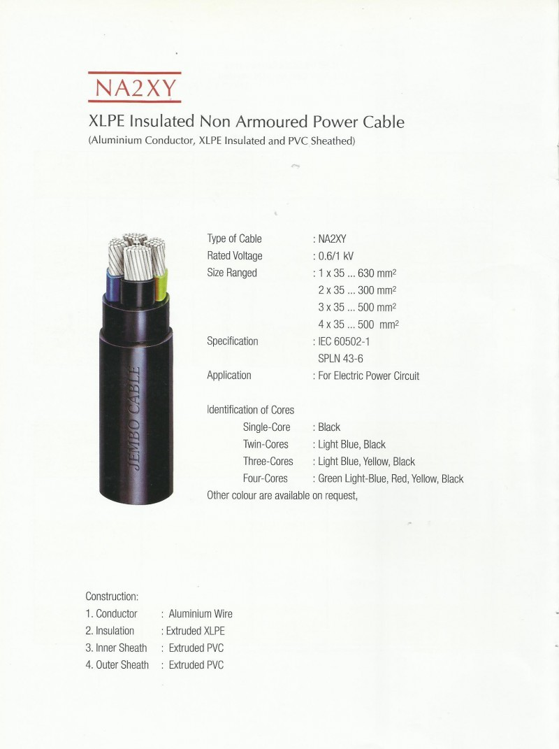 KABEL, JEMBO, NA2XY - XLPE Insulated Non Armoured Power Cable