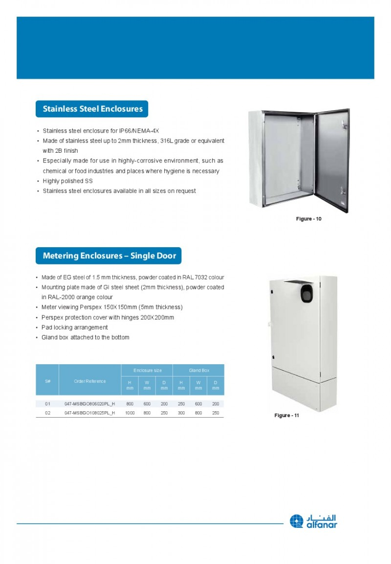 ACCESSORIES PANEL & BOX PANEL, METAL ENCLOSURES IP65 ALFANAR, Stainless Enclosures, Metering Enclosures-Single Door