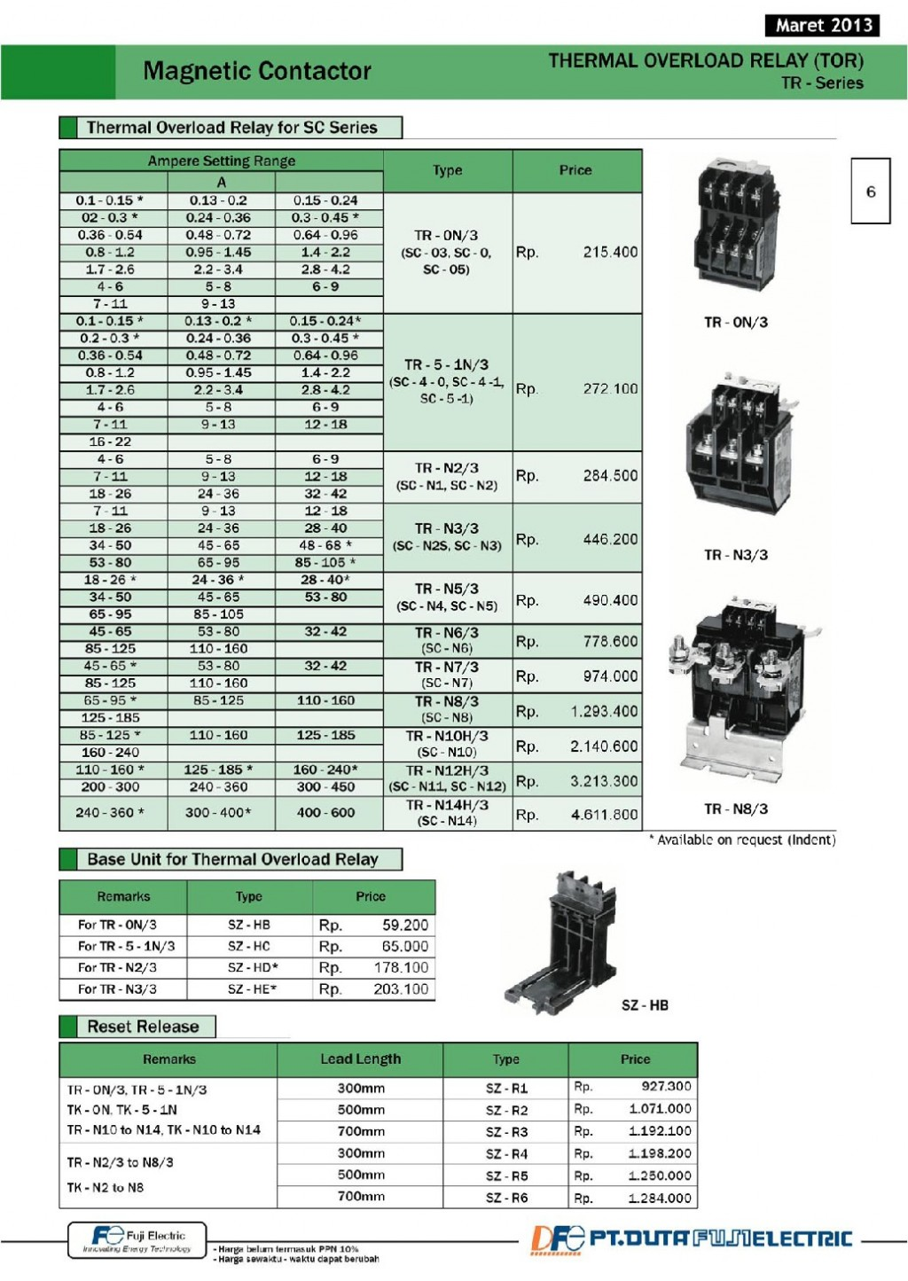 ACCESSORIES PANEL & BOX PANEL, PRICELIST KOMPONEN FUJI, Magnetic Contactor - Thermal Overload Relay (TOR) - TR-Series