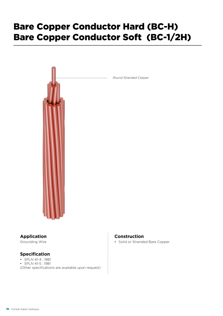 KABEL, SUTRADO, Conductors - Bare Copper Conductor Hard (BC-H) & Bare Copper Conductor Soft (BCC-1/2H)