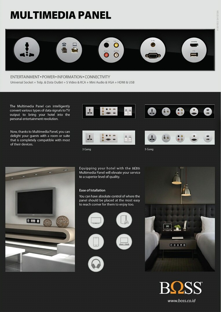 SAKLAR & STOP KONTAK, BOSS Hotel Solutions - Switches & Sockets, Multimedia Panel