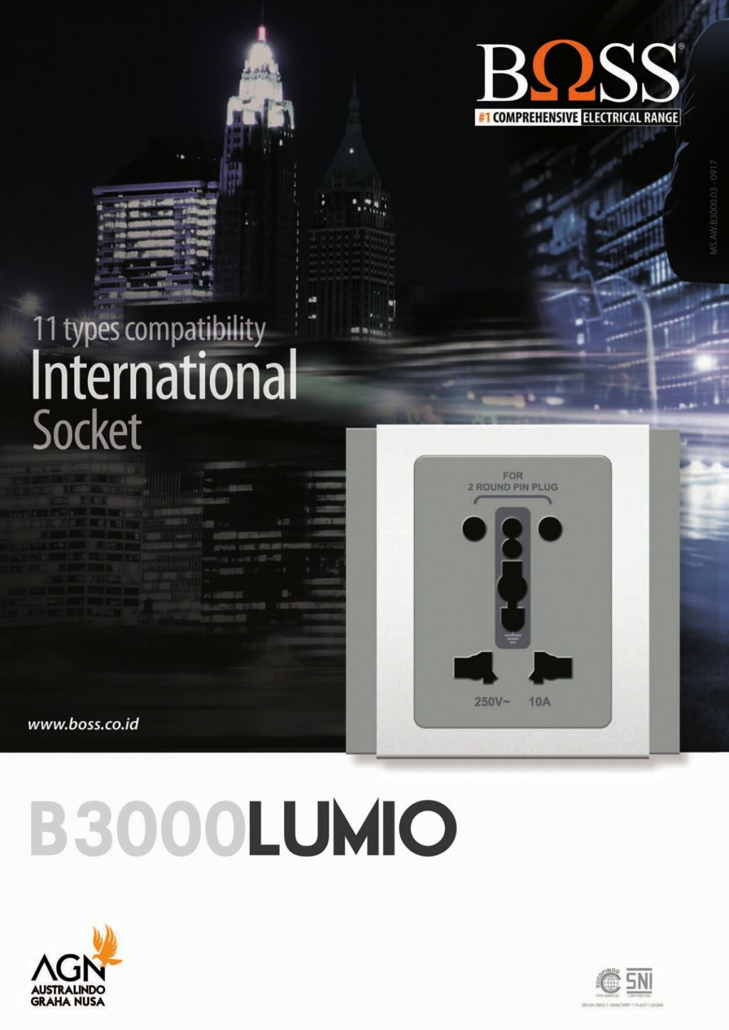 SAKLAR & STOP KONTAK, BOSS B3000 LUMIO - Switch with LED Indicator, B3000 LUMIO