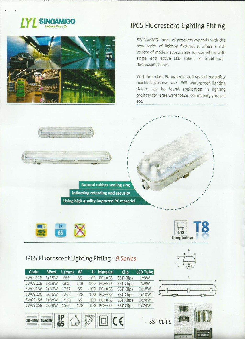 ARMATURE LAMPU, NORDLAND LIGHTING, IP65 Flourescent Lighting Fitting