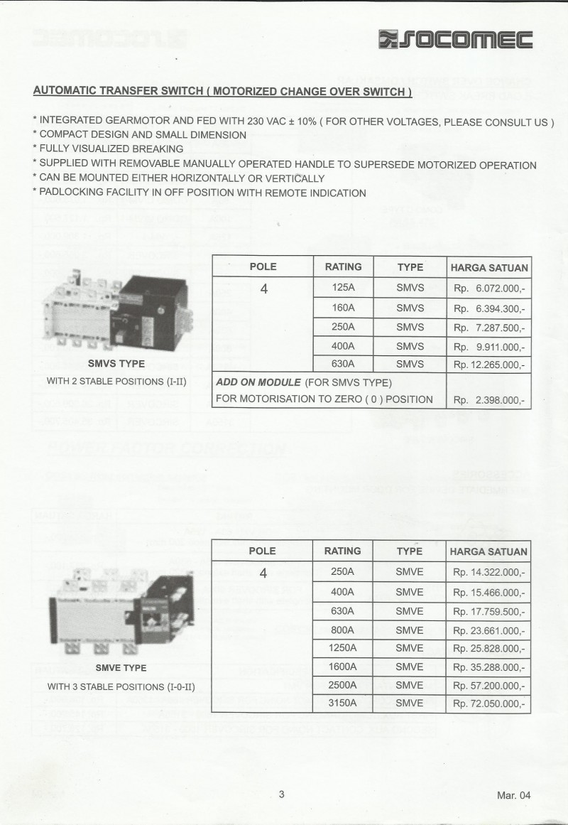 ACCESSORIES PANEL & BOX PANEL, DAFTAR HARGA SOCOMEC, Automatic Transfer Switch (Motorized Change Over Switch)