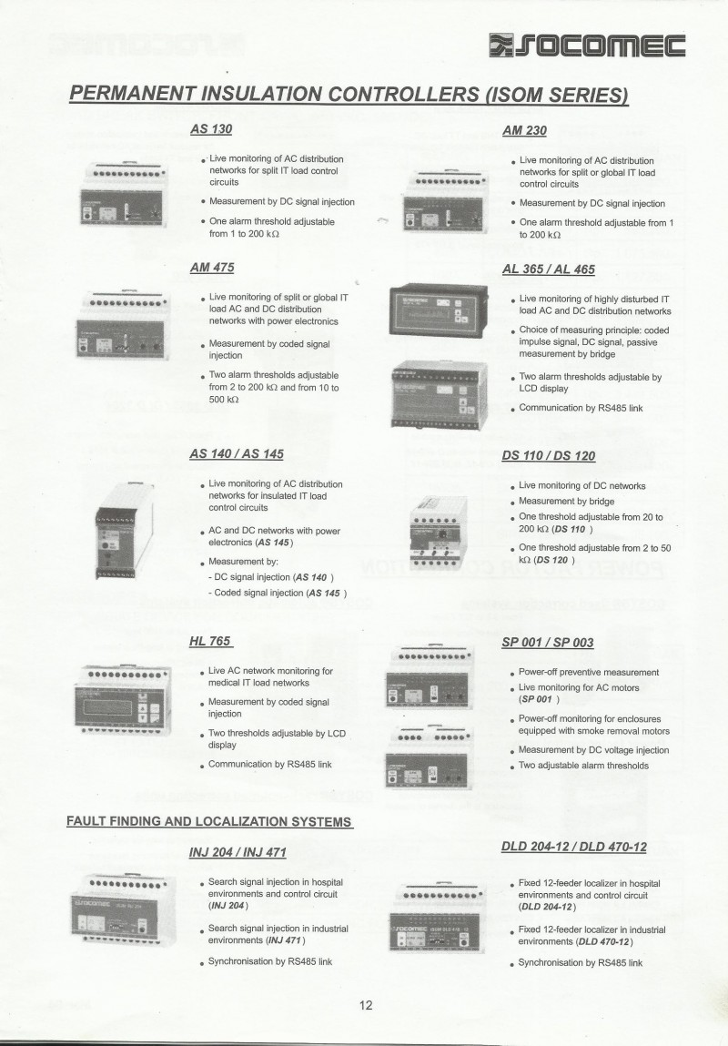 ACCESSORIES PANEL & BOX PANEL, DAFTAR HARGA SOCOMEC, Permanent Insulation Controllers (ISOM Series)
