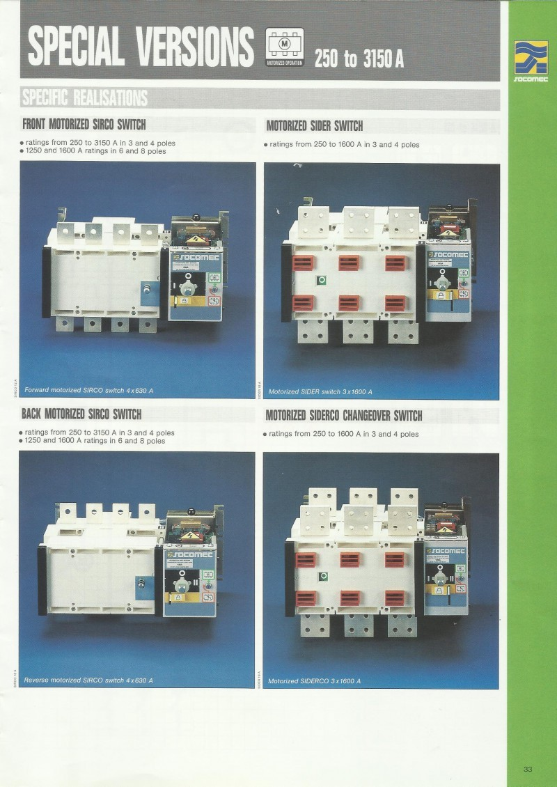 ACCESSORIES PANEL & BOX PANEL, CHANGEOVER SWITCHES SOCOMEC, Special Versions 250 to 3150 A