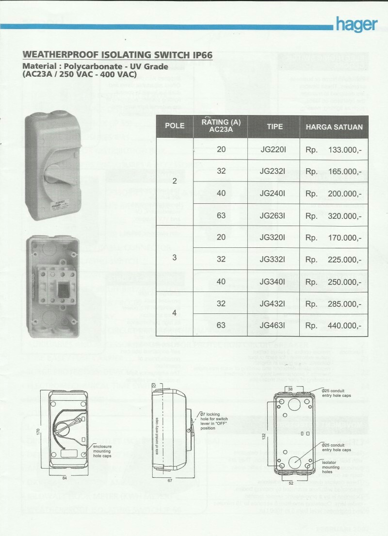 ACCESSORIES PANEL & BOX PANEL, DAFTAR HARGA HAGER, Weatherproof Isolating Switch IP 66