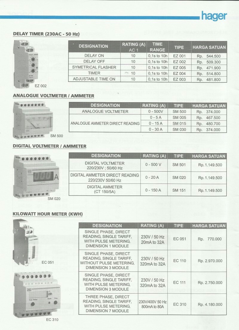 ACCESSORIES PANEL & BOX PANEL, DAFTAR HARGA HAGER, Delay Timer (230AC-50Hz)