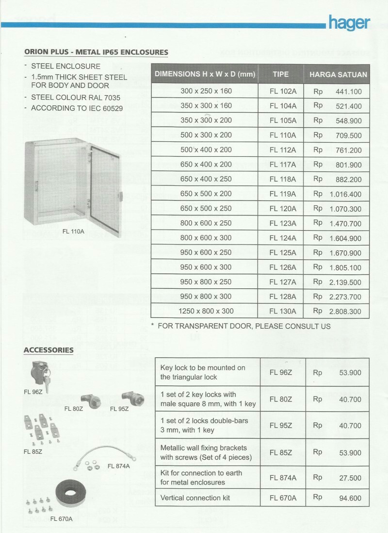 ACCESSORIES PANEL & BOX PANEL, DAFTAR HARGA HAGER, Orion Plus - Metal IP 65 Enclosures