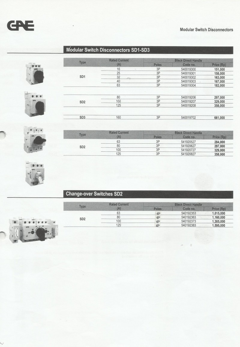 ACCESSORIES PANEL & BOX PANEL, GAE PRICELIST SWITCHES AND FUSES, Modular Switch Disconnectors