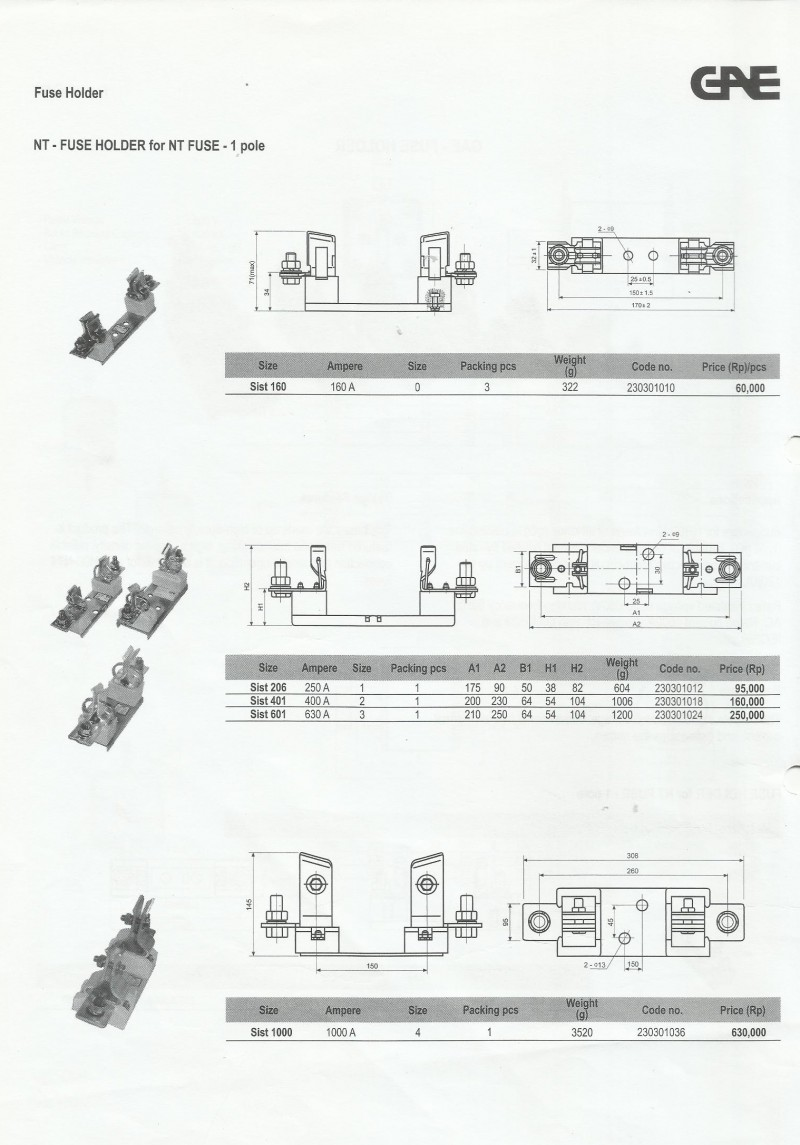 ACCESSORIES PANEL & BOX PANEL, GAE PRICELIST SWITCHES AND FUSES, Fuse Holder